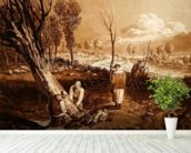 Hedging and Ditching, c.1860 (etching) wallpaper mural in-room view