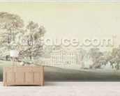 A three storied Georgian house in a park, c.1795 (wash over graphite on paper) wall mural living room preview