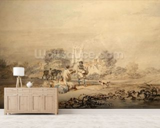 Autumn Sowing of the Grain, c.1794 (w/c over graphite on paper) wallpaper mural