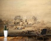 Autumn Sowing of the Grain, c.1794 (w/c over graphite on paper) wallpaper mural kitchen preview