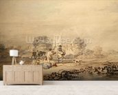Autumn Sowing of the Grain, c.1794 (w/c over graphite on paper) wallpaper mural living room preview
