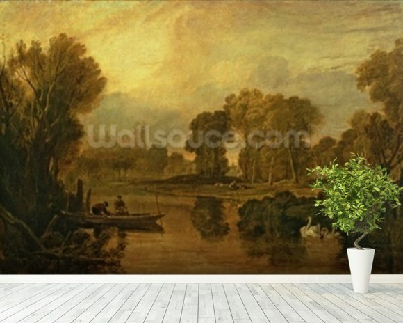 Eton College from the River, or The Thames at Eton, c.1808 wallpaper mural room setting