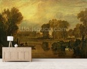 Eton College from the River, or The Thames at Eton, c.1808 wallpaper mural living room preview