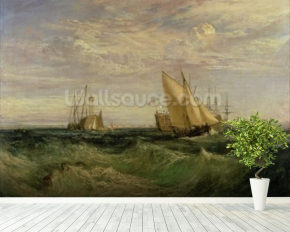 The Confluence of the Thames and the Medway, c.1808 mural wallpaper room setting