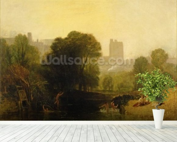 Near the Thames Lock, Windsor, c.1809 mural wallpaper room setting