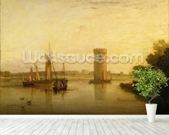 Tabley, the Seat of Sir J.F. Leicester, Bart.: Calm Morning, c.1809 wall mural room setting