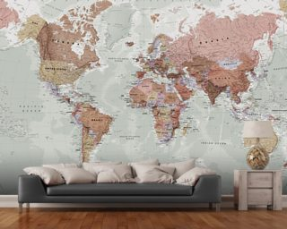 world map wallpaper map wall murals wallsauce tan world map map wall mural