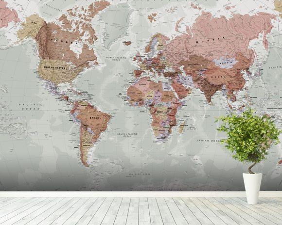 Executive political map wallpaper world map mural for Executive world map wall mural