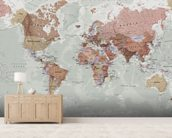 Executive Political World Map wallpaper mural living room preview