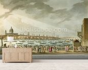 Lord Nelsons funeral procession by water from Greenwich to Whitehall from The History and Graphic Life of Nelson, engraved by J. Clark and H. Marke, pub. by Orme, 1806 (coloured engraving) mural wallpaper living room preview
