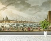 Lord Nelsons funeral procession by water from Greenwich to Whitehall from The History and Graphic Life of Nelson, engraved by J. Clark and H. Marke, pub. by Orme, 1806 (coloured engraving) mural wallpaper in-room view