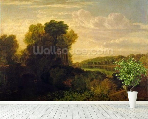 The Thames at Weybridge, c.1807-10 mural wallpaper room setting