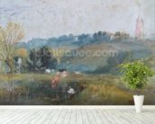 Landscape near Petworth, c.1828 (gouache) wallpaper mural in-room view