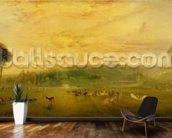 The Lake, Petworth: Sunset, Fighting Bucks, c.1829 mural wallpaper kitchen preview