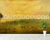 The Lake, Petworth: Sunset, Fighting Bucks, c.1829 mural wallpaper in-room view