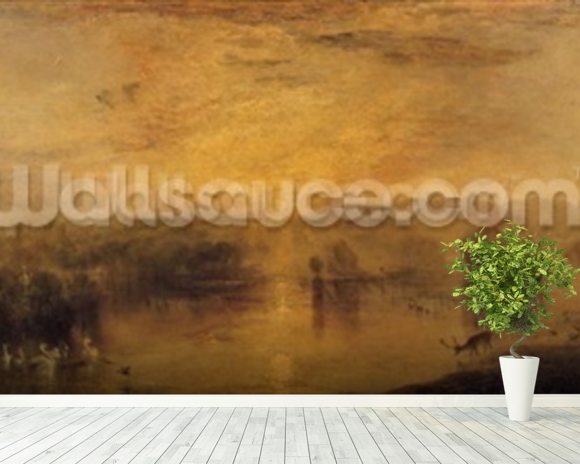 The Lake, Petworth: Sunset, a Stag Drinking, c.1829 wall mural room setting