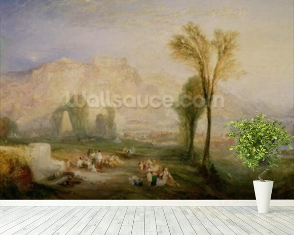 The Bright Stone of Honour (Ehrenbreitstein) and the Tomb of Marceau, from Byrons Childe Harold, 1835 wall mural room setting