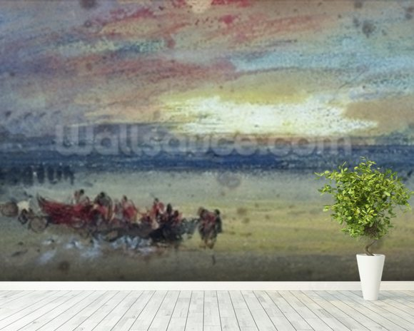 Shore Scene, Sunset (w/c on paper) wallpaper mural room setting