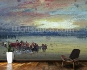 Shore Scene, Sunset (w/c on paper) wallpaper mural kitchen preview