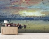Shore Scene, Sunset (w/c on paper) wallpaper mural living room preview