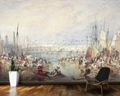 The Port of London mural wallpaper kitchen preview