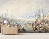 The Port of London mural wallpaper living room preview