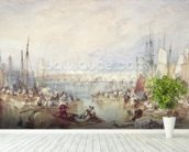 The Port of London mural wallpaper in-room view