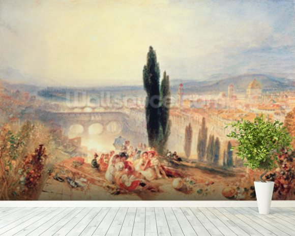Florence from near San Miniato, 1828 wallpaper mural room setting