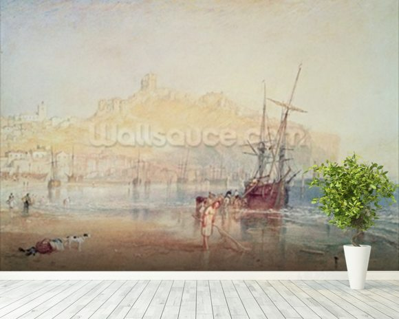 Scarborough, 1825 (watercolour) mural wallpaper room setting