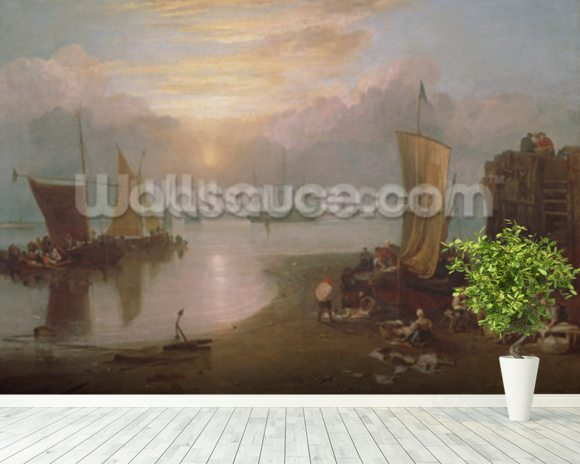 Sun Rising Through Vapour: Fishermen Cleaning and Selling Fish, c.1807 (oil on canvas) wallpaper mural room setting