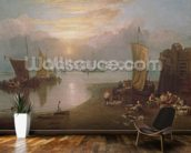 Sun Rising Through Vapour: Fishermen Cleaning and Selling Fish, c.1807 (oil on canvas) wallpaper mural kitchen preview