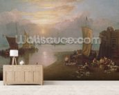 Sun Rising Through Vapour: Fishermen Cleaning and Selling Fish, c.1807 (oil on canvas) wallpaper mural living room preview