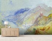 The Castle of Trausnitz overlooking Landshut, c.1839 (gouache and w/c) wallpaper mural living room preview