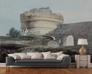 Castle of San Angelo, Rome (w/c on paper) mural wallpaper