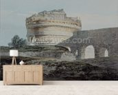 Castle of San Angelo, Rome (w/c on paper) mural wallpaper living room preview