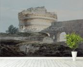 Castle of San Angelo, Rome (w/c on paper) mural wallpaper in-room view