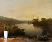 Harlech Castle, from Twgwyn Ferry, Summers Evening Twilight (oil on canvas) wallpaper mural kitchen preview