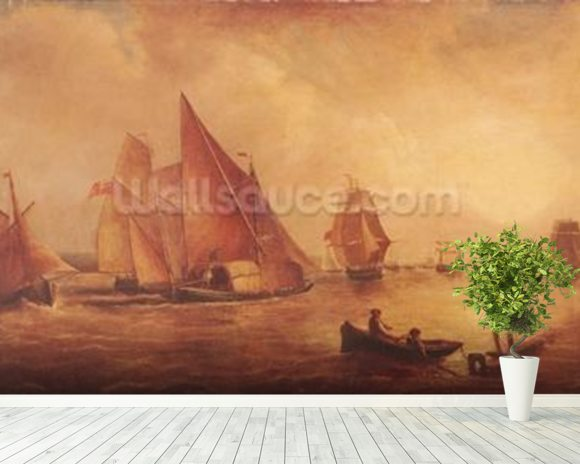 Estuary of the Thames and the Medway (oil on canvas) mural wallpaper room setting