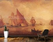 Estuary of the Thames and the Medway (oil on canvas) mural wallpaper kitchen preview