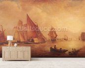 Estuary of the Thames and the Medway (oil on canvas) mural wallpaper living room preview