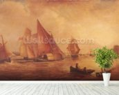 Estuary of the Thames and the Medway (oil on canvas) mural wallpaper in-room view