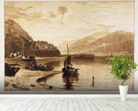 Inverary Pier, 1859-61 (engraving) wallpaper mural room setting
