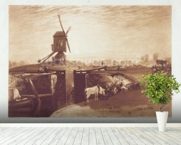 Windmill and Lock, engraved by William Say (1768-1834) (engraving) mural wallpaper room setting
