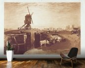 Windmill and Lock, engraved by William Say (1768-1834) (engraving) mural wallpaper kitchen preview