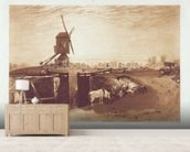 Windmill and Lock, engraved by William Say (1768-1834) (engraving) mural wallpaper living room preview