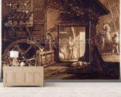Pembury Mill, Kent, engraved by Charles Turner (1773-1857) 1853-74 (engraving) mural wallpaper living room preview
