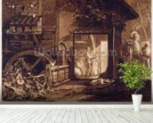 Pembury Mill, Kent, engraved by Charles Turner (1773-1857) 1853-74 (engraving) mural wallpaper in-room view