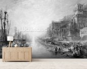 The Embarkation of Regulus, Ancient Carthage, engraved by Daniel Wilson (1816-92), 1838-52 (etching) mural wallpaper living room preview