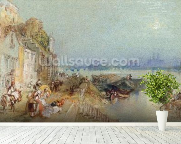 Andernach, 1817 (w/c with pen and black ink on wove paper) mural wallpaper room setting