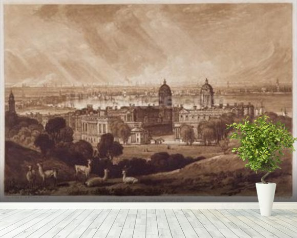 London from Greenwich, engraved by Charles Turner (1773-1857) 1811 (engraving) wallpaper mural room setting